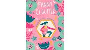 La couverture du livre est rose et verte. On y voit le personnage de Fanny, qu'on devine à bicyclette, et des fleurs vertes.