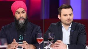Jagmeet Singh et Paul St-Pierre Plamondon portent tous deux un veston bleu.