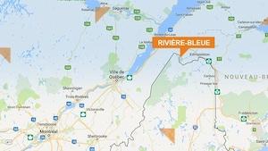 Carte de la municipalité de Rivière-Bleue