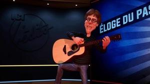 Le personnage tient une guitare dans ses mains.