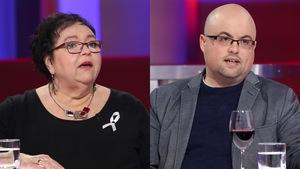 Louise Riendeau porte une robe noire et Simon Lapierre porte un chandail bleu et un veston gris.