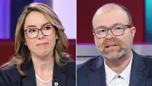 Un montage de deux photos : à gauche, une femme aux cheveux blonds qui porte une blouse blanche et un veston bleu. À droite, un homme qui porte une chemise blanche et un veston bleu.