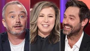 Un montage avec la photo des visages des trois comédiens.