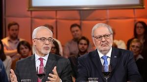 Carlos Leitão et Pierre Arcand lors d'un passage à « Tout le monde en parle ».