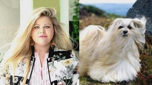 Un montage photo de Geneviève Schmidt à gauche, avec ses cheveux blonds dans le vent et une photo du chien le lhassa apso en pleine nature avec ses poils longs et blancs qui volent au vent également.