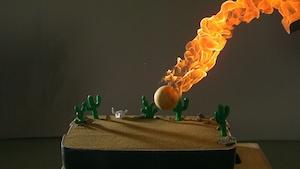 Météorite, bulles de savon et feu