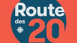 Le logo de la route des 20 sur un fond rouge.