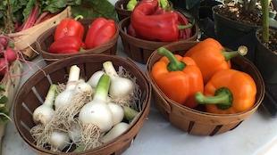 Des légumes dans des paniers sur un marché.