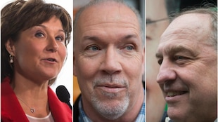 Christy Clark, du Parti libéral, John Horgan du NPD et Andrew Weaver du Parti vert sont les chefs des trois principaux partis pour les élections provinciales de 2017 en C.-B.