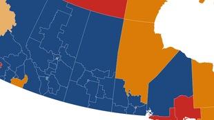 Carte electorale de l'ouest canadien.