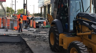 Un chantier de construction au centre-ville de Montréal