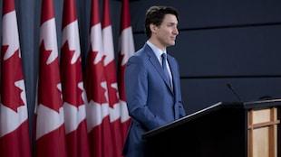 Le premier ministre du Canada Justin Trudeau, lors d'un point de presse, le jeudi 7 mars 2019