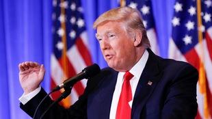 Donald Trump, lors de sa première conférence de presse depuis son élection, le 12 janvier à New York.