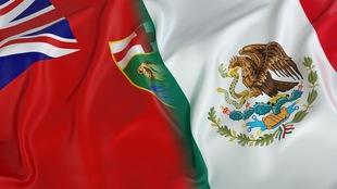 Les drapeaux du Mexique et du Manitoba mélangés.