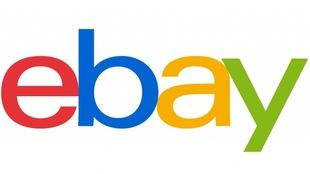 Logo de la plateforme de commerce électronique eBay, sur fond blanc.