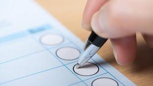 Une personne coche une case sur un bulletin de vote.