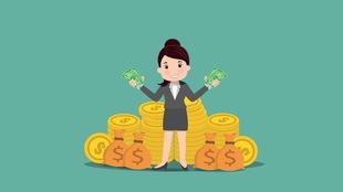 Illustration d'une femme avec de l'argent.