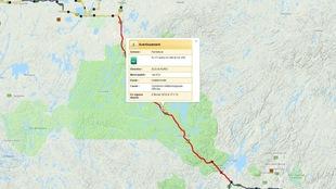 Une carte de Transports Québec indique une entrave sur une route.