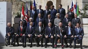 Les ministres des Finances et gouverneurs des banques centrales des pays du G7, réunis à Bari, en Italie.