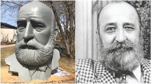 La statue de Georges Forest réalisée par l'artiste Miguel Joyal, et une photo de Georges Forest.