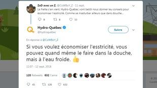 Une capture d'écran d'un échange de tweets entre Hydro-Québec et l'usager CaWBoY_Z