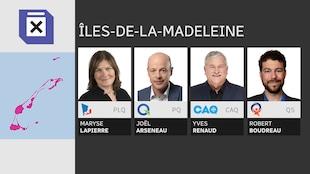 Maryse Lapierre pour le Parti libéral, Joël Arseneau pour le Parti québécois, Yves Renaud pour la Coalition Avenir Québec et Robert Boudreau pour Québec Solidaire.