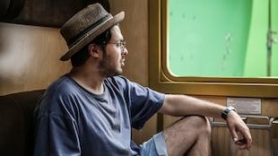 L'acteur dans un wagon de train