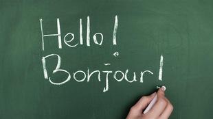 Hello! / Bonjour! sur un tableau