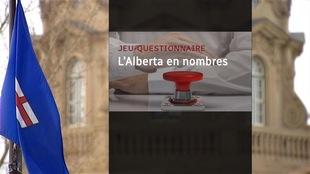 Image-titre d'un jeu-questionnaire, avec l'édifice de la législature albertaine en arrière-plan.