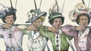 Page couverture du livre Nos héroïnes, avec quatre archères en robe