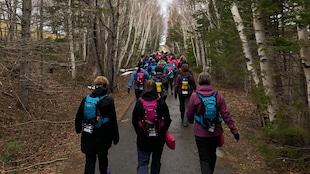 des femmes marchent dans la forêt sur une piste pavée avec des sacs à dos sous un ciel nuageux