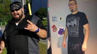 Une photo avant-après d'un homme qui a perdu près de 190 livres.