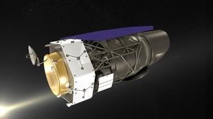 Illustration informatisée du télescope, le Wide Field Infrared Survey Telescope ou WFIRST de la Nasa