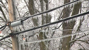 Des glaçons pendent le long de fils électriques.