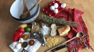 Des épices, une ceinture fléchée, un bol et des ustensiles de cuisine