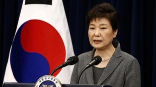 La présidente de la Corée du Sud, Park Geun-hye, lors de son allocution à la nation sud-coréenne