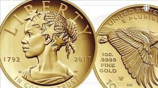 Le profil d'une femme noire sur une pièce de monnaie américaine.