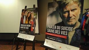 Des affiches thématiques de la 28e édition de la semaine de prévention du suicide sur lesquelles on peut lire «Parler sauve des vies».