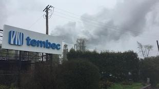 Panneau de l'usine de Tembec à Témiscaming, au Témiscamingue