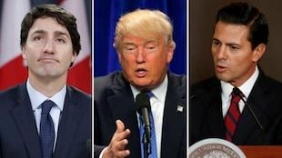 Un montage montrant, de gauche à droite, Justin Trudeau, Donald Trump et Enrique Pena Nieto.