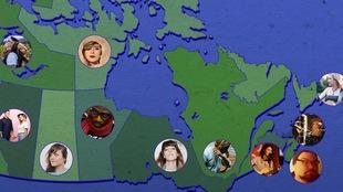 Carte du canada avec la photo d'un artiste à découvrir dans chacune des dix provinces et chacun des trois territoires.