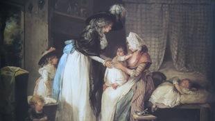 Une jeune femme, en costume de Ville : Grand chapeau à plume, robe blanche à nœud violet, châle noir sur les épaules, suivie de sa fille ainée, tend les bras à un garçonnet sur les genoux de la nourrice. Il tend les bras à celle-ci en se détournant de sa mère. Dans l'angle inférieur dr. fillette vêtue d'une robe bleue, assise à terre, qui épluche quelque chose au-dessus d'une écuelle.