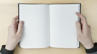 Une personne consulte un livre sans mots.