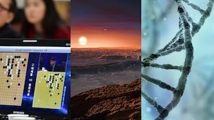L'ordinateur DeepMind affronte le champion du monde de Go; une représentation de l'exoplanète Proxima b; un brin d'ADN.