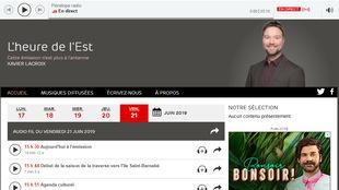 Capture d'écran de la page de l'émission L'heure de l'Est.