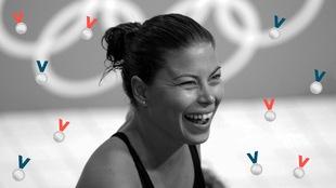 La plongueuse canadienne Roseline Filion est tout sourire, après un entraînement au village olympique de Londres en 2012.
