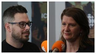 Catherine Dallaire, Violon solo par intérim et Dave Massicotte, directeur de création et cofondateur de Noctura