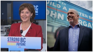 La première ministre sortante, la libérale Christy Clark, et son principal opposant, le néodémocrate Hulk Horgan