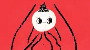 Un rond blanc avec une chevelure conique et des yeux.