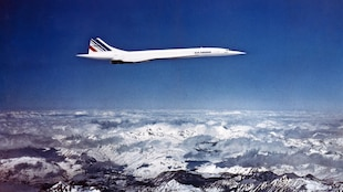 Photo datée de décembre 1975 du Concorde, l'avion supersonique franco-britannique.